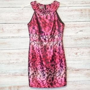 Muse Dress Pink Animal Print size 6 Sheath Metal